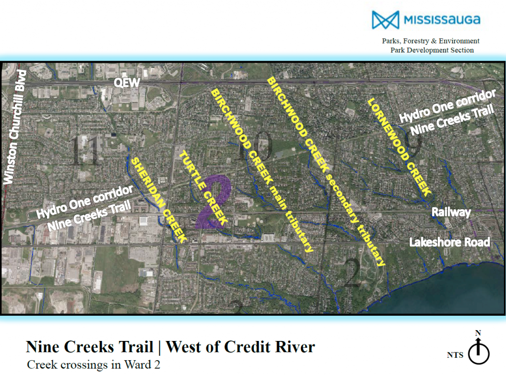 Map displaying Nine Creeks Trail section in Ward 2